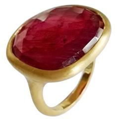 Dalben Red Faceted Sapphire Yellow Satin Gold Ring