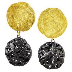 Alex Soldier Silver Gold Platinum Drop Textured Clip-on Earrings Ltd Ed