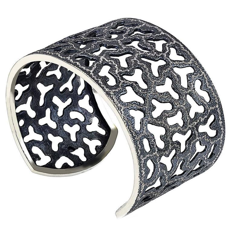 Silver and Dark Platinum Textured Openwork Cuff Bracelet by Alex Soldier. Ltd Ed For Sale
