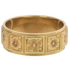 Yellow Gold Floral Motif Band Ring