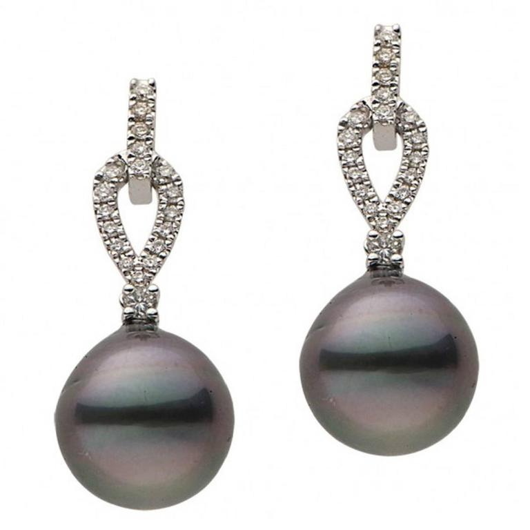 Tahitian Cultured Pearl Diamond Gold Dangle Earrings