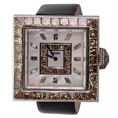 Jahan Fortuny Gold Cognac Diamond Set Watch