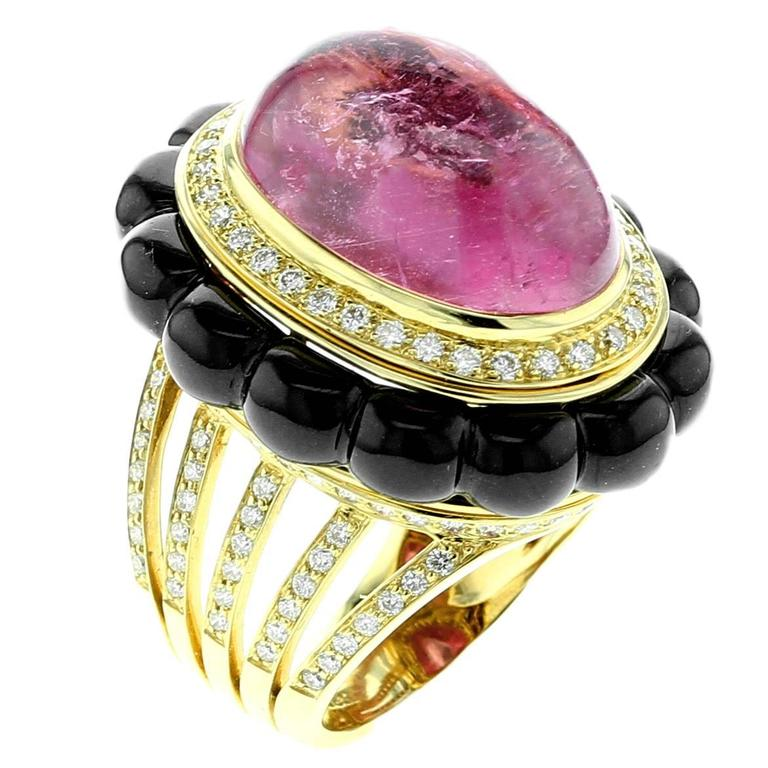 Tourmaline, Black Jade and Diamond Gold Ring For Sale