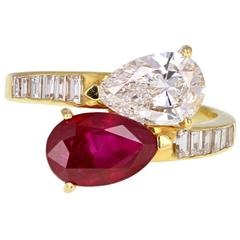 Pear Shaped Burma Ruby Diamond Toi et Moi Gold Ring