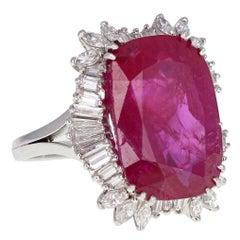 14.50 Carat Burma No Heat Ruby Diamond Cluster Ring