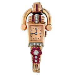 Mid 20th Century Diamond Ruby Gold Watch