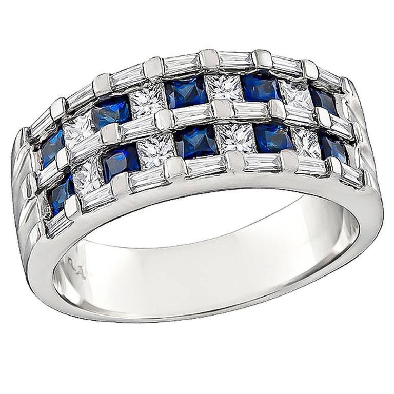 Enticing Diamond Sapphire White Gold Ring