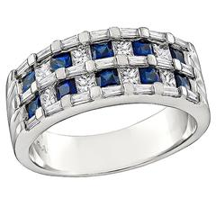 Enticing Diamond Sapphire White Gold Ring