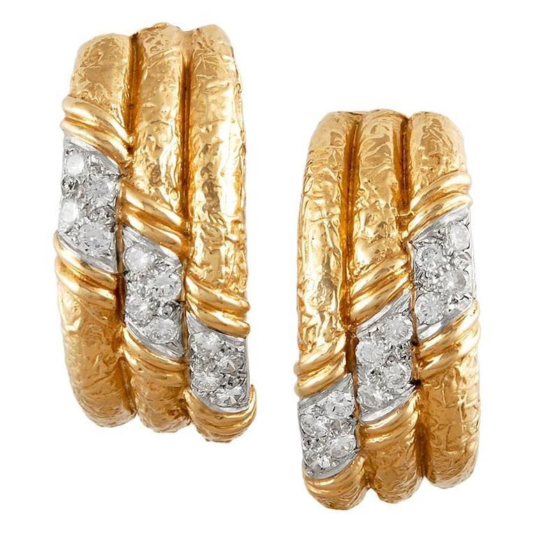 Van Cleef & Arpels Gold  Diamond Hoop Ear Clips