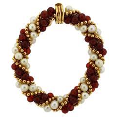 1960s Gold Pearl Carnelian Twist Bracelet