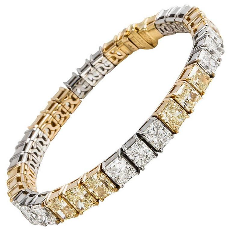 Cartier White and Fancy Yellow Diamond Tennis Bracelet