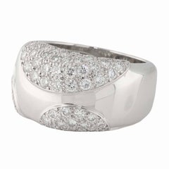 Cartier 18kt White Gold Diamond Band Ring. Size 6.