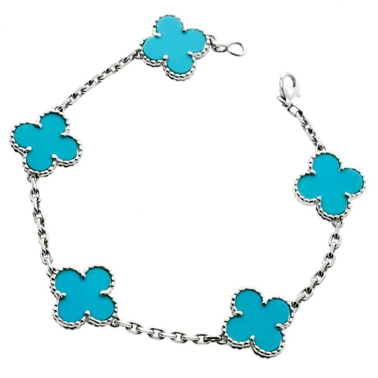 Van Cleef Arpels Vintage Alhambra Turquoise Bracelet At 1stdibs