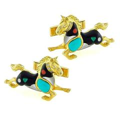 Asch Grossbardt Yellow Gold Horse Cufflinks