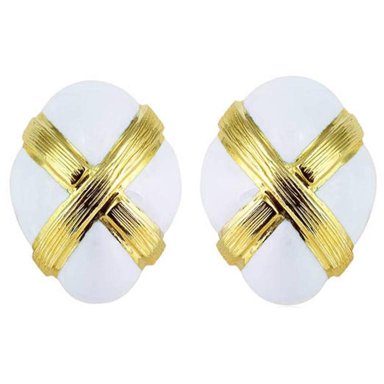 David Webb White Enamel Gold Clip Earrings