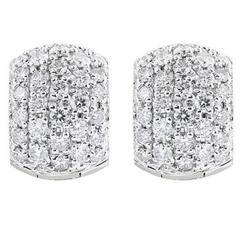 2.40 Carat Diamond Gold Huggie Hoop Earrings