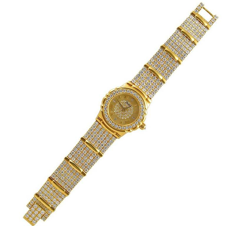 Piaget Ladies Yellow Gold Pave Diamond Quartz Wristwatch