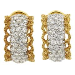Buccellati Scacchi Diamond Gold Hoop Earrings