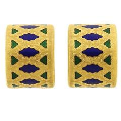 Buccellati Gold Enamel Hoop Earrings