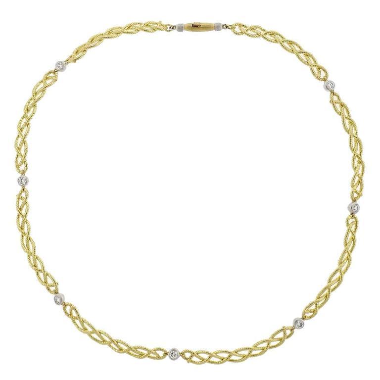 Buccellati Gold Diamond Braided Necklace