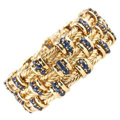Sapphire and Gold Braided Wide Bracelet