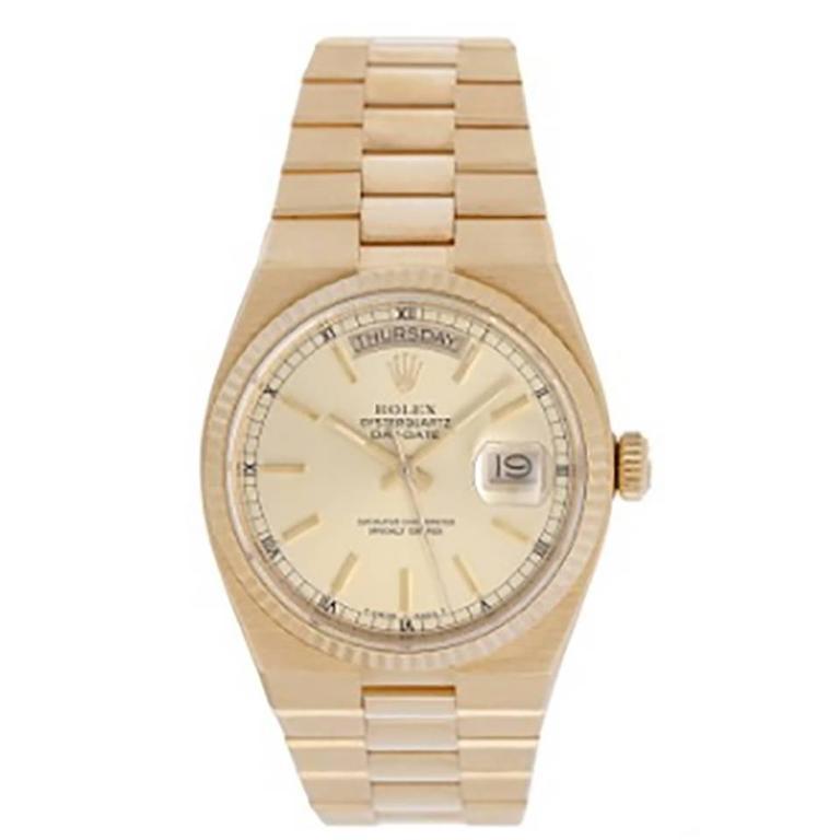 Rolex Oysterquartz President Day-Date Men's Gold Quartz Watch 19018 For Sale