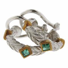Buccellati Diamond Emerald Two Color Gold Hoop Earrings