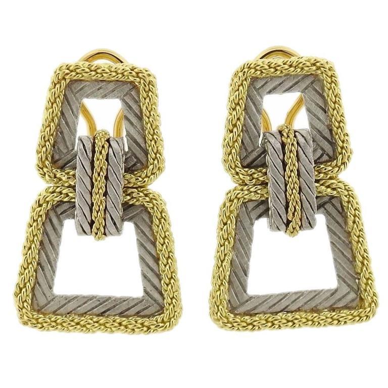 Buccellati Two Color Gold Braided Doorknocker Earrings