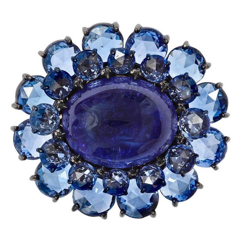 Tanzanite Sapphire Diamond Gold Flower Ring