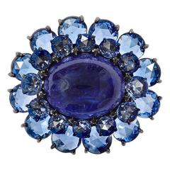 Tanzanite Sapphire Diamond Gold Flower Ring