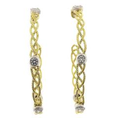 Buccellati Large Diamond Two Color Gold Woven Hoop Earrings