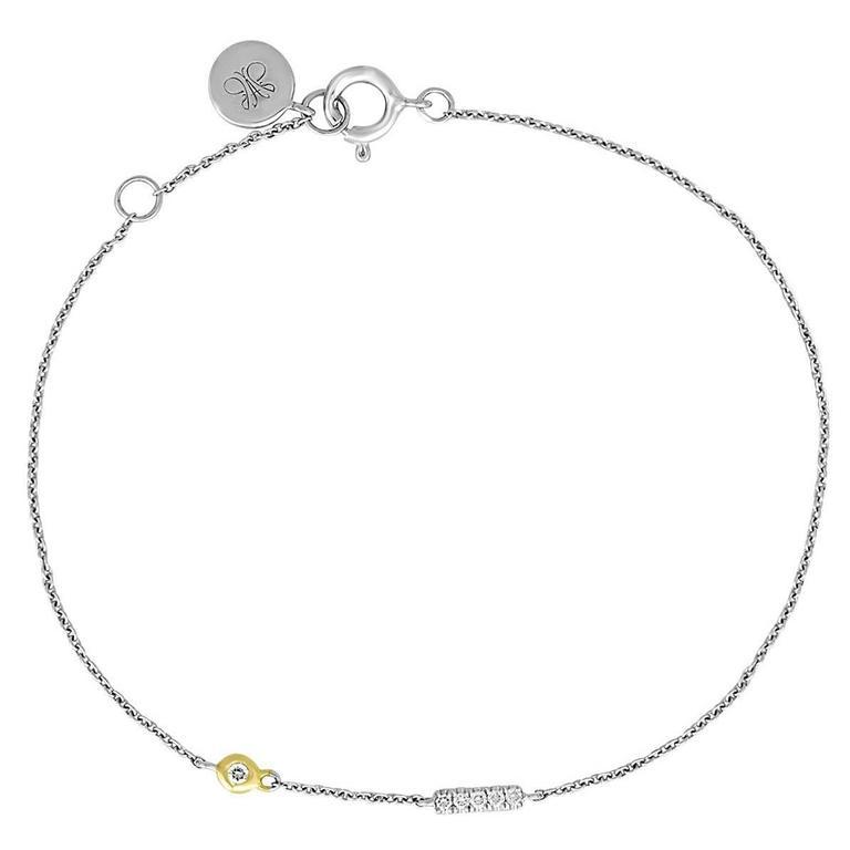 """Initial Letter """"I"""" Diamond Gold Pendant Charm Bracelet"""