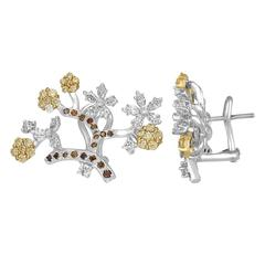 1.80 Carats Diamond Gold Flower Branch Earrings