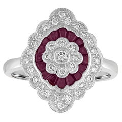 0.74 Carats Ruby Diamond Gold Ring