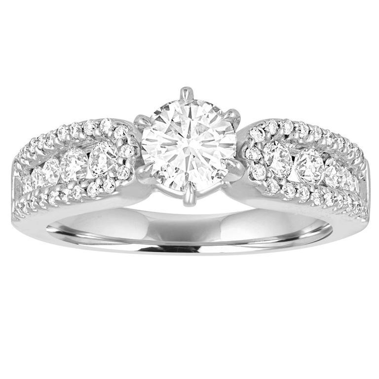 GIA Certified 0.51 Carat E VS2 Round Diamond Gold Engagement Ring