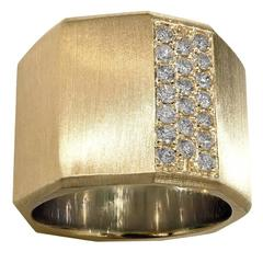 Satin Gold Diamond Satin Gold Handmade Facet Bolt Band Ring