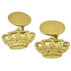Cartier Sterling Vermeil Crown Cufflinks
