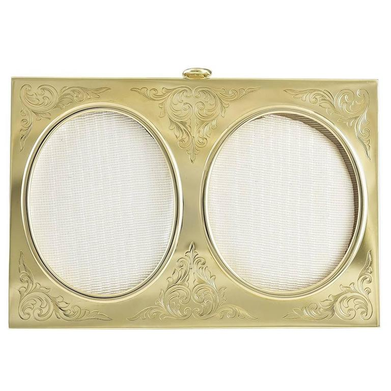 Antique Gold Double Picture Frame For Sale