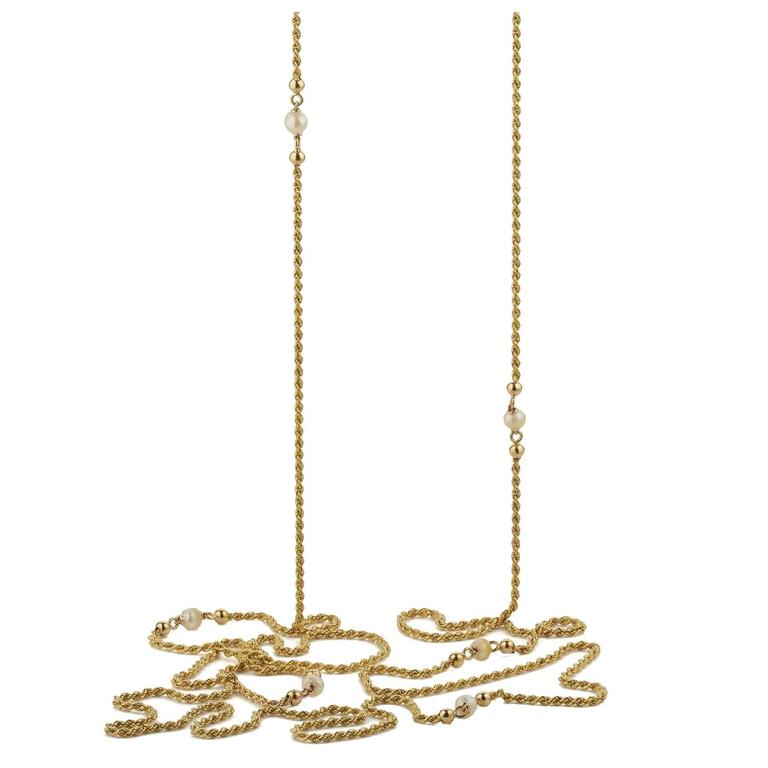 Antique French 18 Karat Yellow Gold Pearl Long Chain Necklace, circa 1870