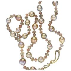 Naomi Sarna Pearl Sunstone Diamond Gold Necklace