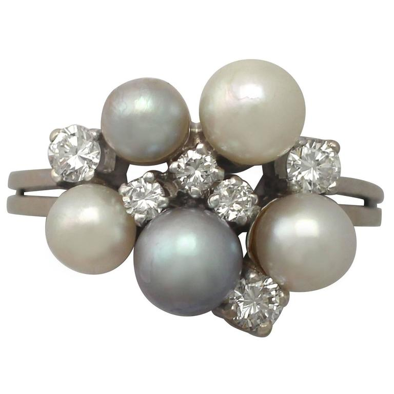 1960s Cultured Pearl and Diamond White Gold Cocktail Ring