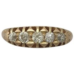 Antique 1900s Diamond and Yellow Gold Cocktail Ring