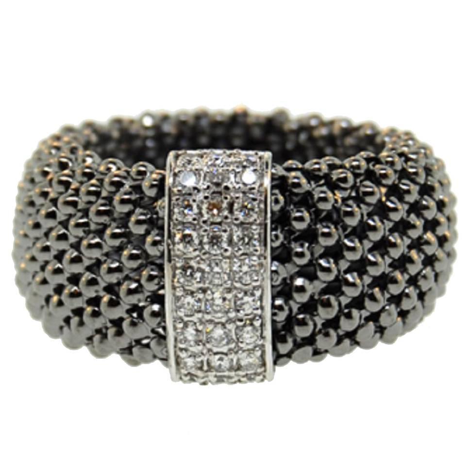 Soft Mesh Diamond Black Rhodium Gold Ring For Sale at 1stdibs
