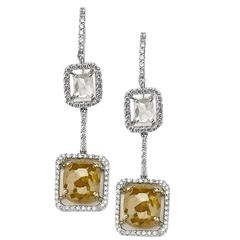 Fancy Grey and Yellow Diamonds Dangle Earrings
