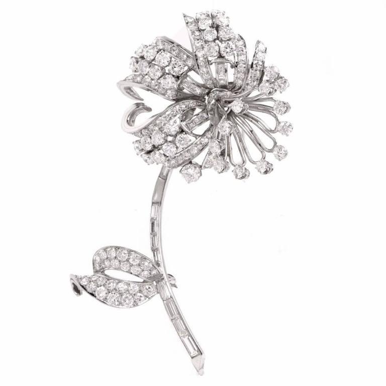 Antique 7.75 Carats Diamond Platinum Flower Brooch Pin