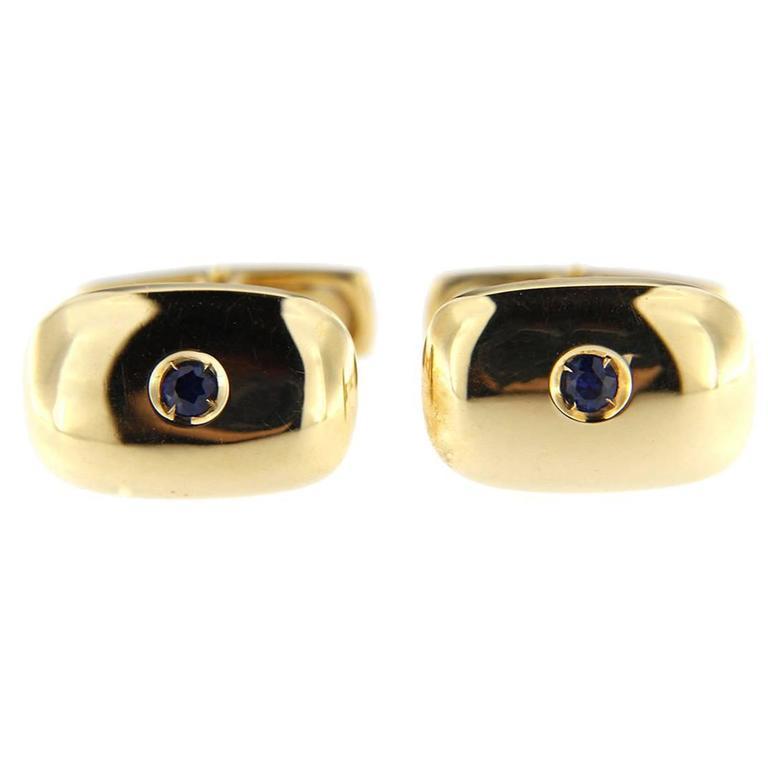 Jona Sapphire  18 Karat Yellow Gold Cufflinks For Sale