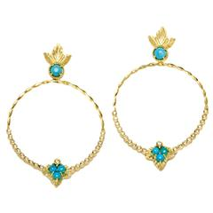 Stambolian Sleeping Beauty Turquoise Diamond Gold Enchanted Garden Earrings