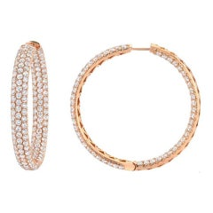 Magnificent Pave Diamond Gold Hoop Inside-Out Earrings