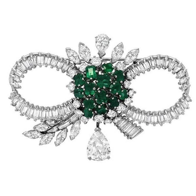 Mid-Century Emerald Diamond Platinum Bow Brooch For Sale