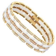 White Onyx Diamond Gold Bracelet